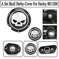 A Set Motorcycle Aluminum Deep Cut Derby Skull Timing Timer Cover For Harley Sportster XL 883 1200 2004 - 2016