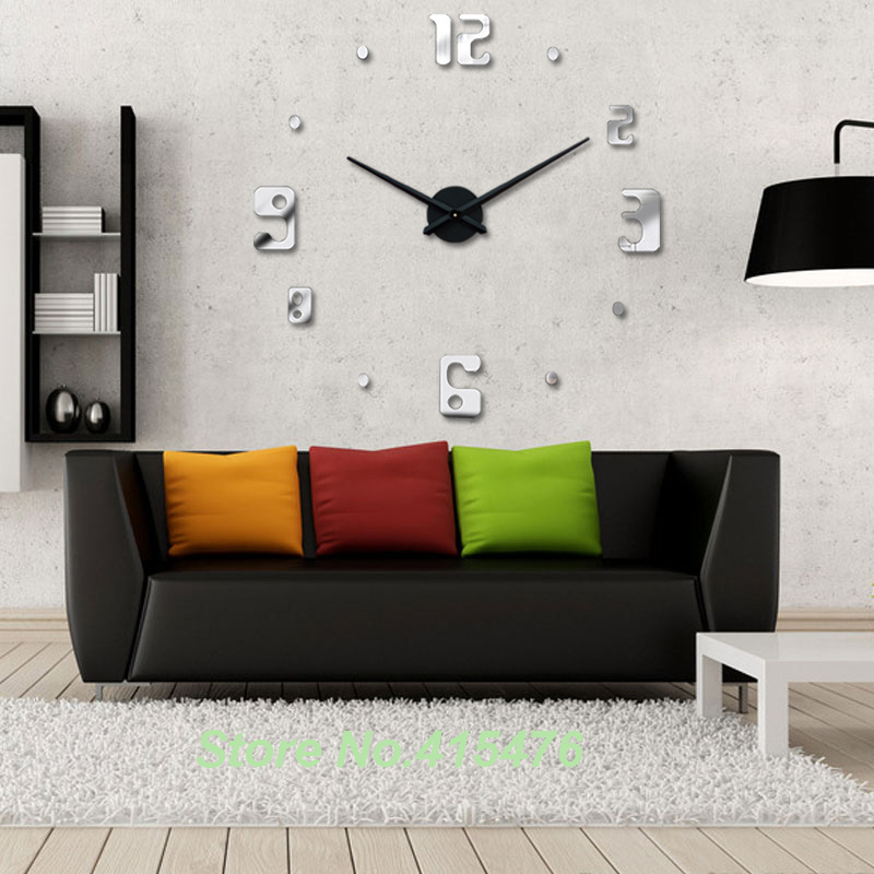 new trendy house home decor item diy large wall clock 3d stickers design silver mirror acrylic shinny clocks in wall clocks from home garden on - Home Decor Item