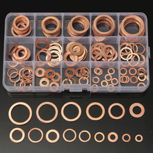 150pcs 15 Sizes Copper Washer Assorted Solid Copper Gasket Washers Sealing Ring Set with Box For Hardware Accessories omy 150pcs copper washers set solid copper washer gasket sealing ring assortment kit set with case 15 sizes for hardware tools