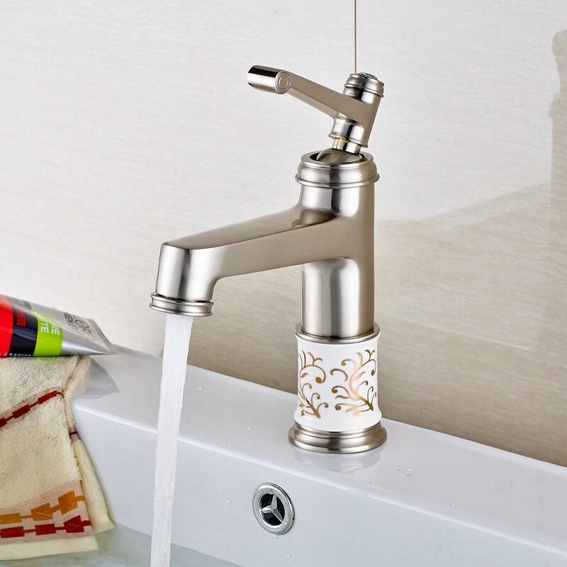 Nickel Brushed Deck Mounted Bathroom Sink Faucet Hot and Cold Water Mixer Tap Countertop Crane стоимость