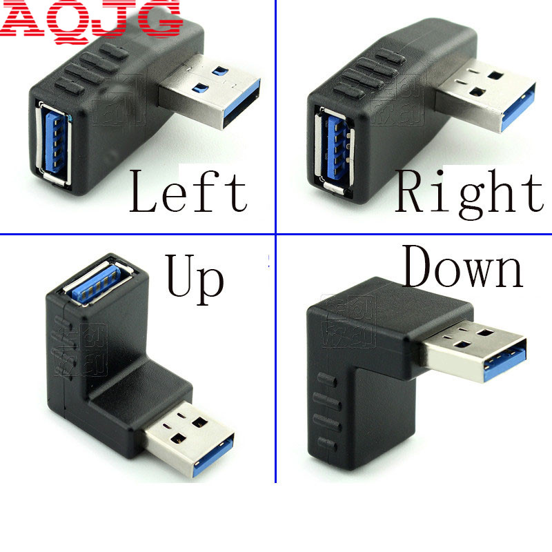 90 degree USB 3.0 A male to female Left and right angled adapter USB 3.0 AM/AF Connector for laptop/PC Computer Black usb 3 0 a female to a female f f converter adapter usb3 0 af to af coupler connector extender converter for laptop pc