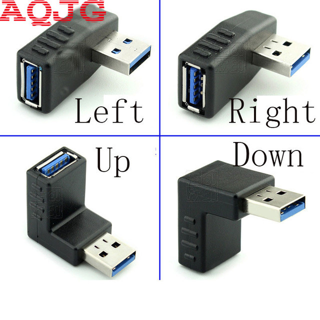 90 degree USB 3.0 A male to female Left and right angled adapter USB 3.0 AM/AF Connector for laptop/PC Computer Black