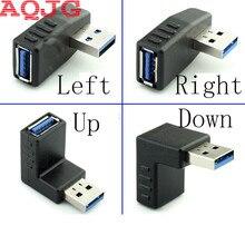 Adaptador USB 3,0 A macho A hembra, 90 grados, en ángulo izquierdo y derecho, conector AM/AF para ordenador portátil/PC, negro