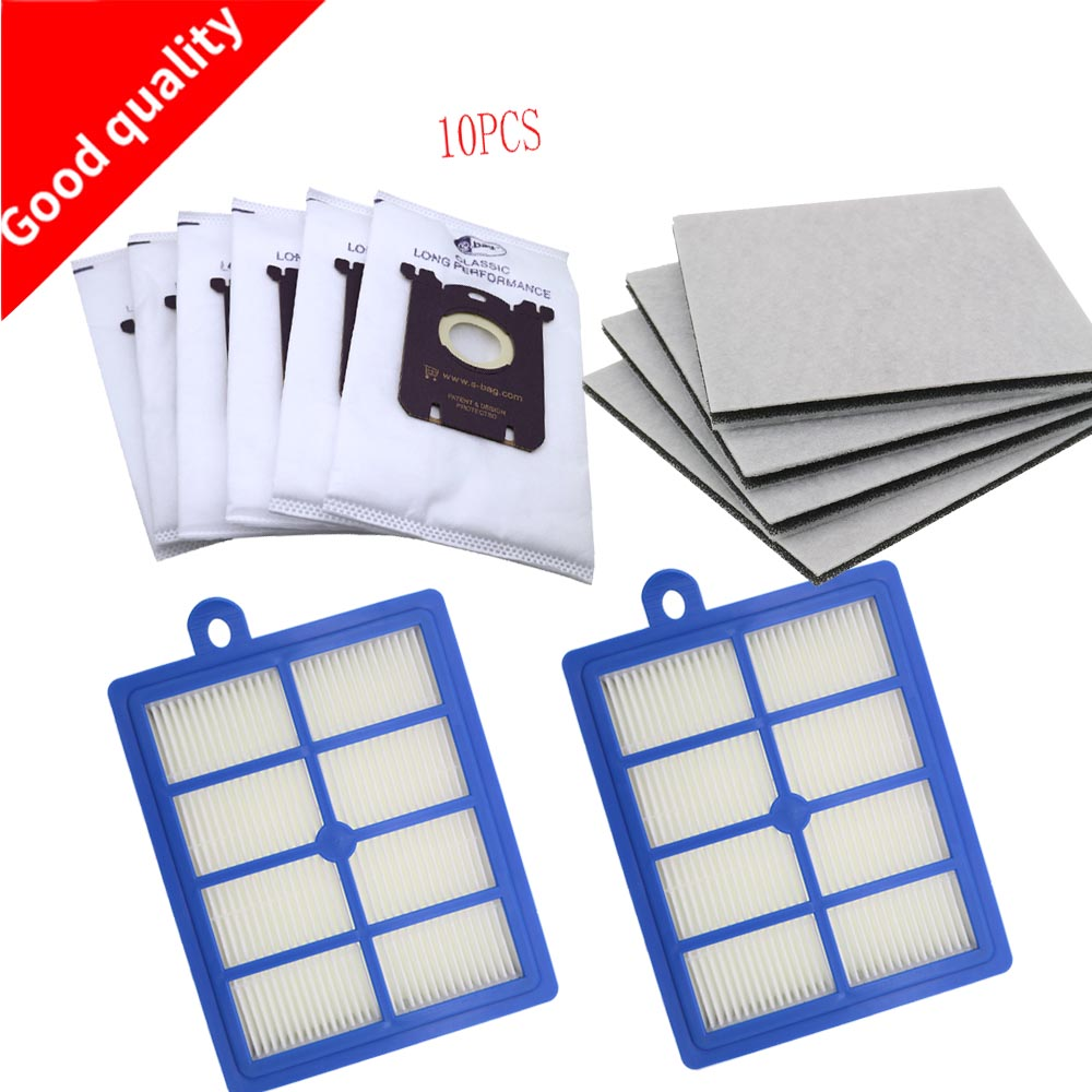 10PCS Vacuum Cleaner Dust Bags s-bag and 2PCS H12 Hepa filter+4PCS Motor cotton filter fit for Philips Electrolux Cleaner