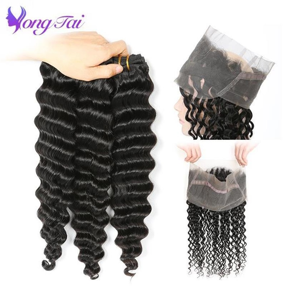 Yongtai Brazilian Deep Wave 360 Lace Frontal With 3 Bundles Hair Weave 100% Human Hair Natural Black Non Remy 4Pcs Free Shipping