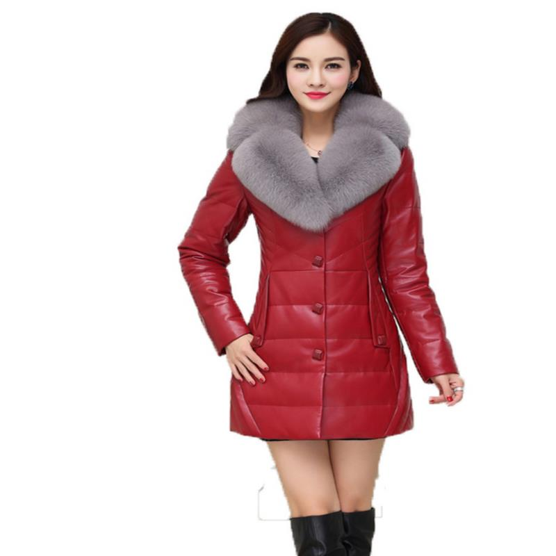 Leather   down     coat   Female women's large Man-made raccoon fur slim plus cotton thermal long design leather clothing trench