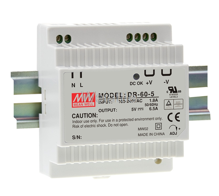 5V 12V 15V <font><b>24V</b></font> MEAN WELL 2.5A <font><b>4A</b></font> 4.5A 6.5A 32.5W 60W 54W Industrial DIN Rail Power Supply DR-60-5 DR-60-12 DR-60-15 DR-60-24 image