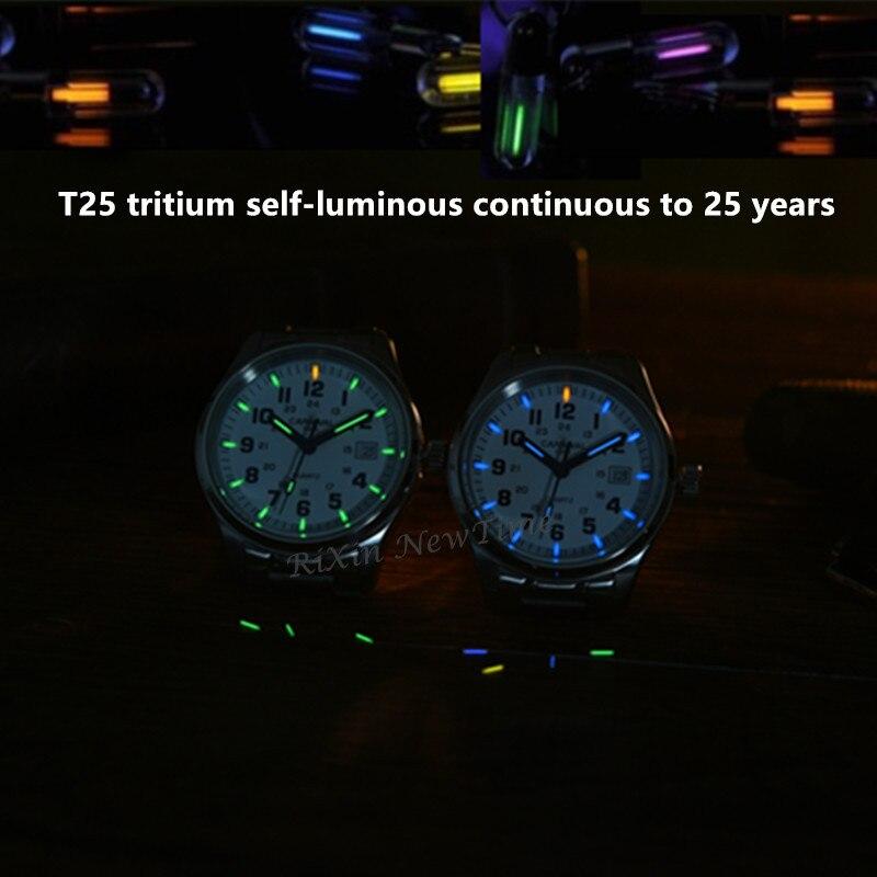 Tritium licht marke uhr männer military tauch wasserdichte 200M quarz leucht volle stahl luxus marke lederband uhren uhren-in Quarz-Uhren aus Uhren bei  Gruppe 3