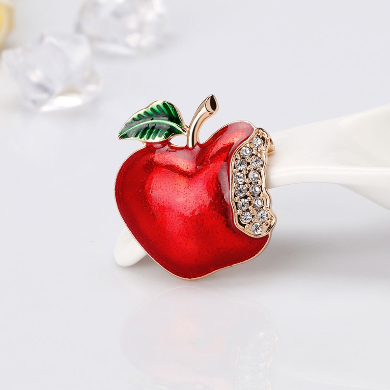 Exquisite Fruit Apple Brooches Badge For Women Girl Brooch Button Pins Corsage