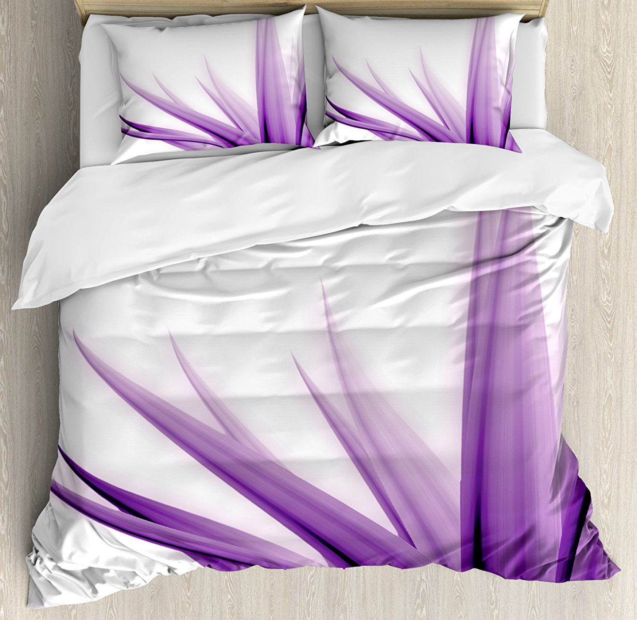 Flower Decor Duvet Cover Set, Purple Ombre Long Leaves Water Colored Print with Calming Details Image, 4 Piece Bedding Set