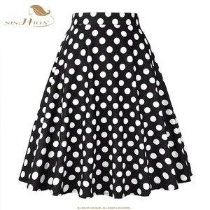 Image 5 - SISHION Vrouwen Rok Blauw Rood Zwart Witte Stip Hoge Taille Vintage Skater faldas mujer Plus Size School Korte Rok VD0020
