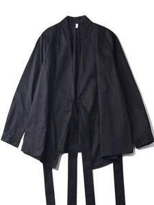 Image 5 - [EAM] 2020 חדש אביב סתיו V צווארון ארוך שרוול שחור רופף קצר מותניים תחבושת חולצה נשים חולצה אופנה גאות JI096