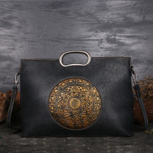 Vintage Casual Vegetable Tanned Leather Handbag Women Genuine Cow Skin Top Handle Tote Ladies Clutches Crossbody shoulder Bags
