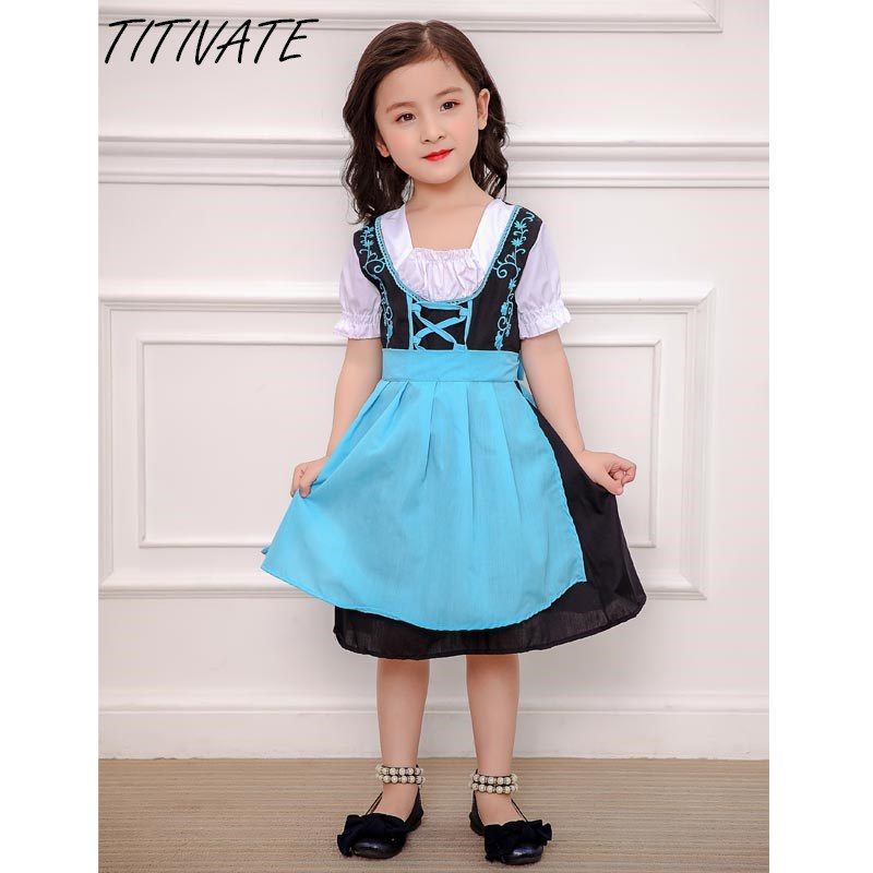 TITIVATE S-XL Size Kids Girls Alice Maid Cosplay Carnival Costume Stage Performanse Halloween party Cosplay Uniform Children D