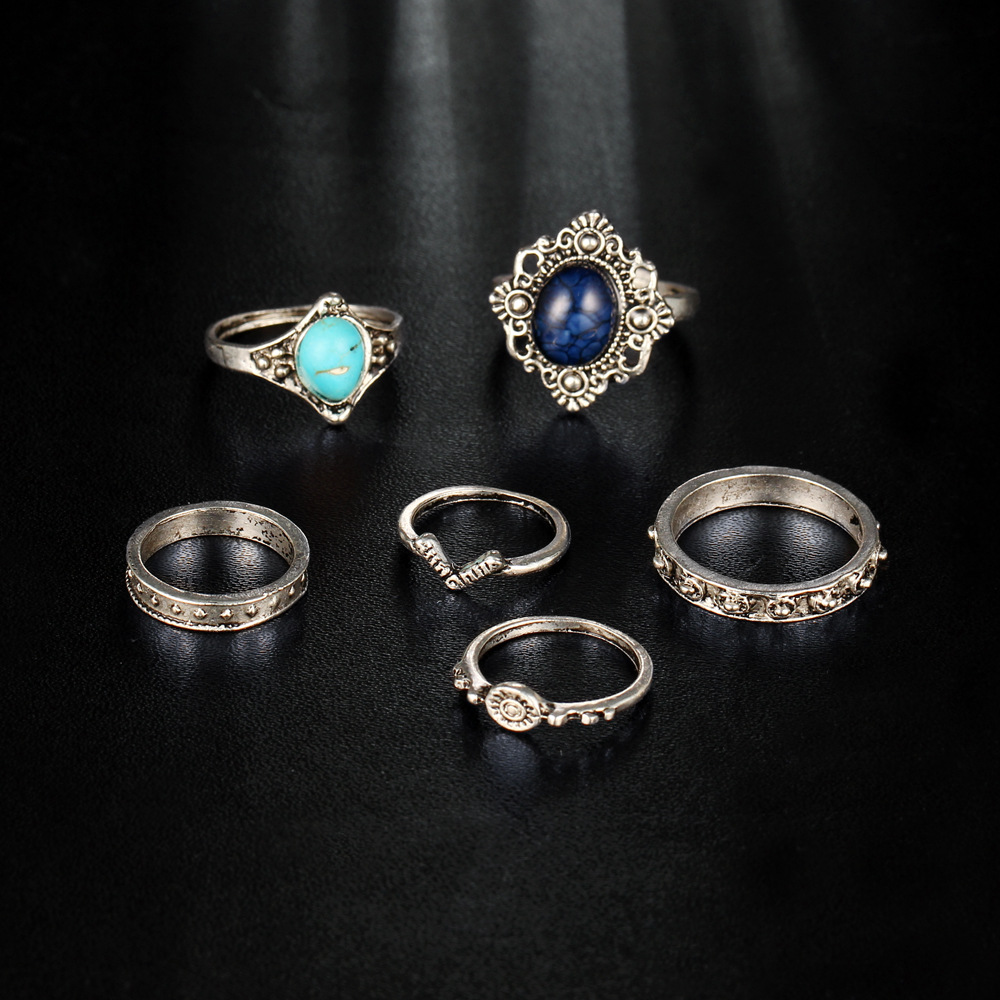 60 pieces/set V Shape Ring Blue Stone Beads Jewelry Women Antique Silver Color Hollow Flower Eye Midi Finger Knuckle Rings Set