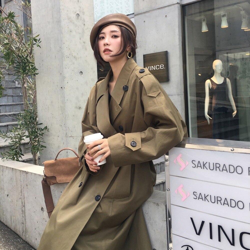 4bb14085b Alta Dama Abrigo Suelta Gabardina Mujer Casual Militar De Verde Con ...