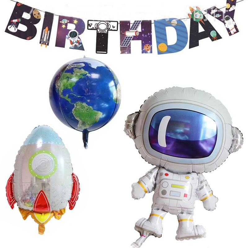 Cartoon Astronaut Boy Foil Balloons Baby Rocket Favor Toys Party Decor Birthday