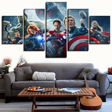 Modern Painting Wall Decor Frame Canvas Art Print Movie Avengers 2 Age of Ultron Poster 5 Panel Superheroes Pictures Home