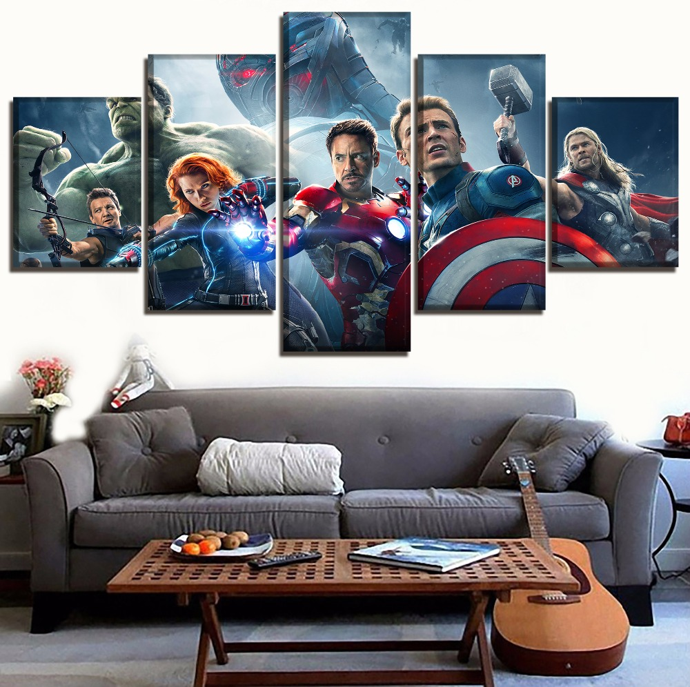modern-painting-wall-decor-frame-canvas-art-print-movie-font-b-avengers-b-font-2-age-of-ultron-poster-5-panel-superheroes-pictures-home-decor