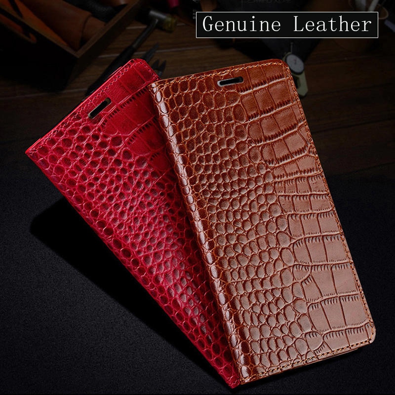 Genuine Leather Flip Case For Xiaomi Pocophone F1 Mi 6 8 A1 A2 Lite Mix 2 Max 3 Crocodile texture For Redmi Note 5 4X 5A 5S Plus
