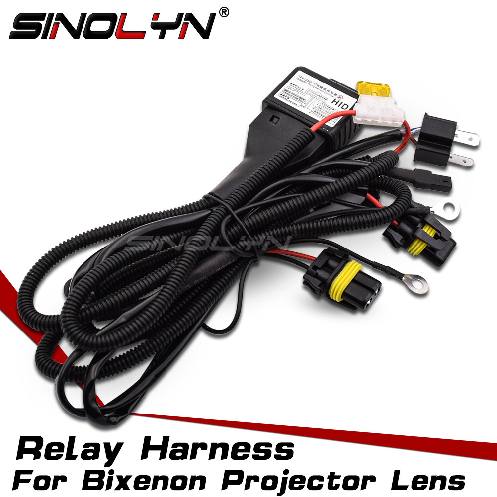 Car 12V 35W/55W H4 H4-3 9003 HB2 Bixenon Bulbs Relay Harness For Bi xenon Projector Lens Control Wiring Controller Wire+Fuse h3 55w car lamps wiring harness kit w fuse switch dc 12v