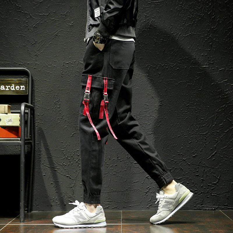 Men's Pants HIPHOP Pocket Trousers Men Streetwear Plus-Size Women Cool Belt