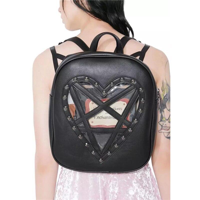 Punk Gothic Backpack Dark Black PU Leather Harajuku Rivets Shoulder Bag Transparent Heart Vintage Women Steampunk