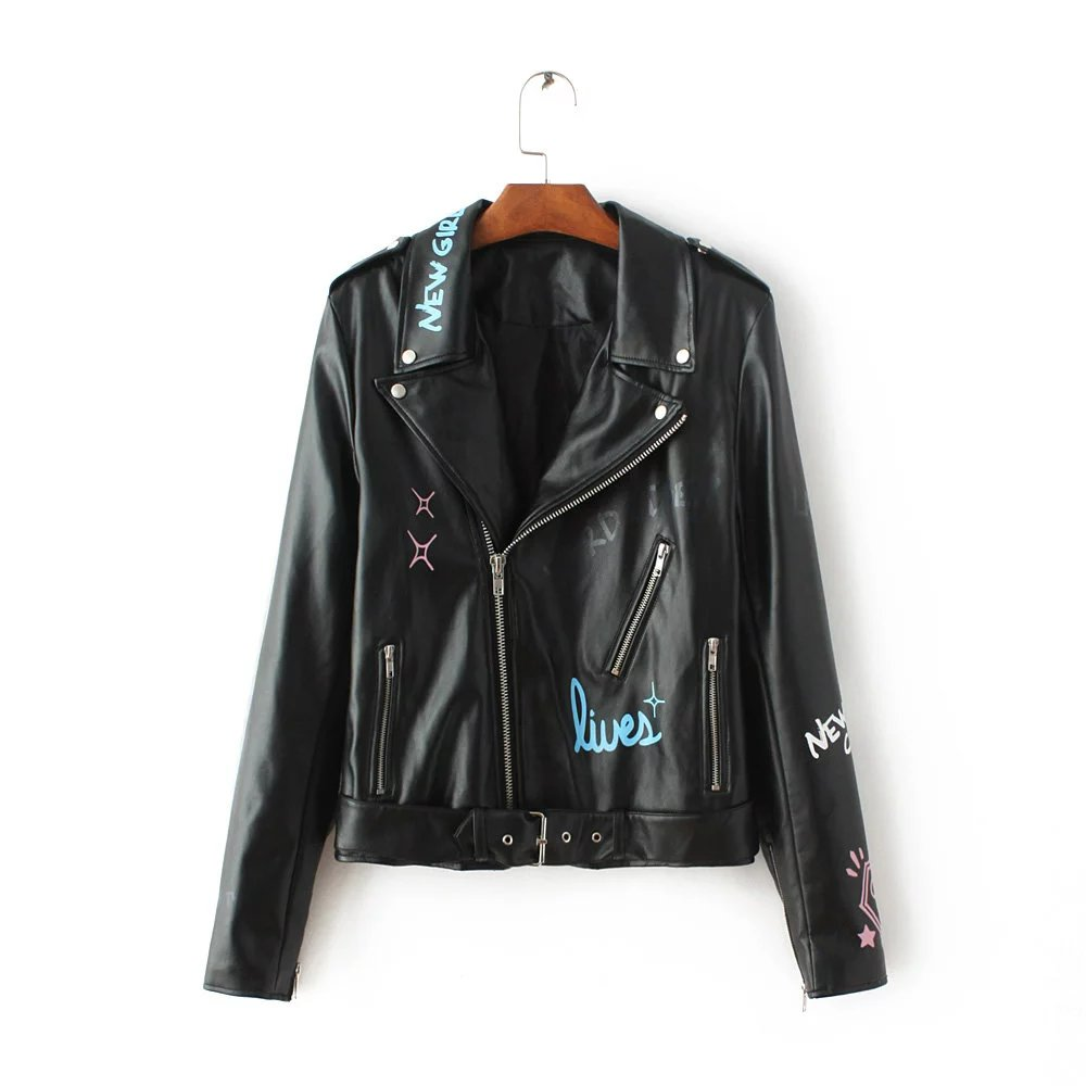 silver words printed leather jackets women winter trench. Black Bedroom Furniture Sets. Home Design Ideas