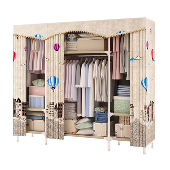 Simple Wardrobe Reinforced Thicken Cloth Sturdy Steel Frame Assembly Oxford Locker Hanging Wardrobe