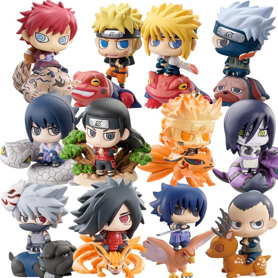 Anime 6pcs/set Cute Naruto Generation Uzumaki Naruto Uchiha Sasuke Hatake Kakashi Gashapon Tiny Action Figure Model Toys
