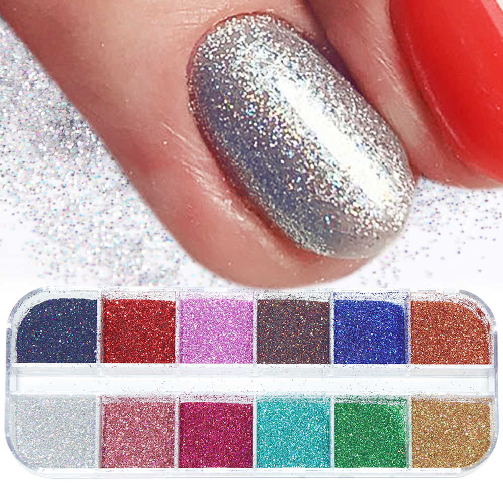 1 Case Laser Nail Glitter Powder Set Shining Paillette Nail Art Iridescent Flakies Dust Pigment Sequins Manicure Decoration BEL