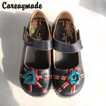 2016 Folk style Head layer cowhide pure handmade Carved shoes,the retro art mori girl shoes,Women's casual Sandals, 958-5C-22