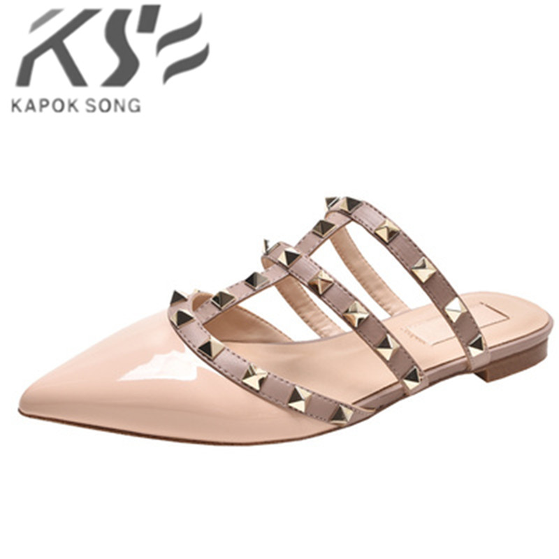 Rivet flat sandals cow leather women luxury brand shoes female fashion geuine leather 2019 branded leather