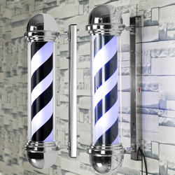 Светодиодная лампа-столб для парикмахерской, черно-белая, синяя, в полоску, дизайн, настенный светильник для салона красоты, лампа для салон...