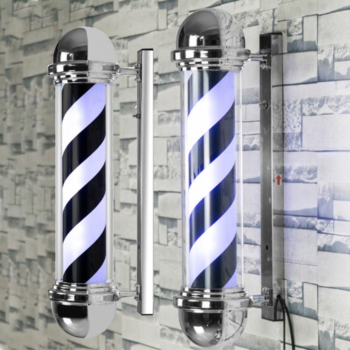 LED Salon de coiffure signe luminaire noir blanc bleu rayure Design Roating Salon tenture murale lampe de Salon de beauté lampe