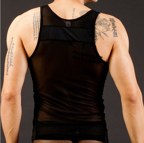 Free shipping Men Hollow New Nylon Sexy Transparent Vest Breathable Tank Top 5 colors S M L in Tank Tops from Men 39 s Clothing