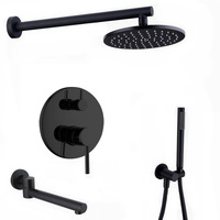 Wall Mounted Black brass Bathroom Shower Set 8 Rianfall Shower Head Shower Faucet set Shower Arm Diverter Mixer Handheld Set