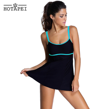 ce009c324419a Hotapei Plus Size One piece swimsuit with skirt Stylish Double Shoulder  Straps Swimdress LC41921 Women new
