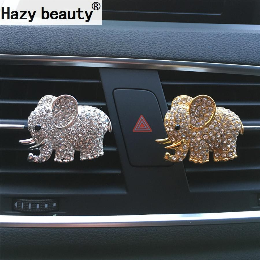 Hazy beauty High-grade diamond crystal elephant car perfume clip lady car s..