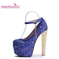 MEMUNIA femmes talons hauts chaussures plate-forme bout rond pompes classique sexy chaussures simples de mode vente chaude partie chaussures glitter boucle