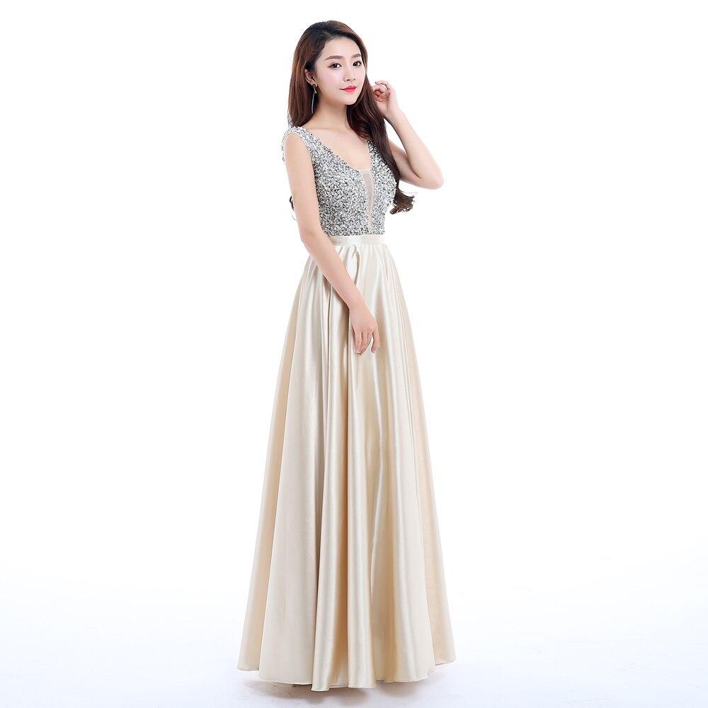 Beauty Emily New V-Neck Beads Bodice Open Back A Line Long Evening Dress Party Elegant Vestido De Festa Fast Shipping Prom Gown
