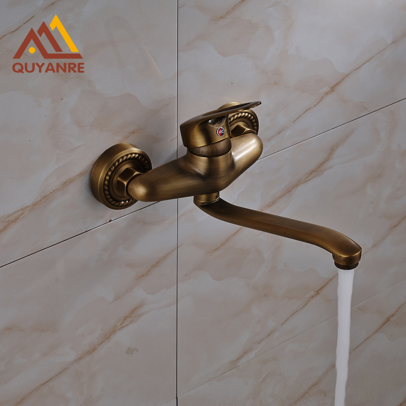 Free Shipping Wall Mount Kithchen Antique Brass Faucet Long Swivel Water Spout Dual Hole Water Tap china sanitary ware chrome wall mount thermostatic water tap water saver thermostatic shower faucet