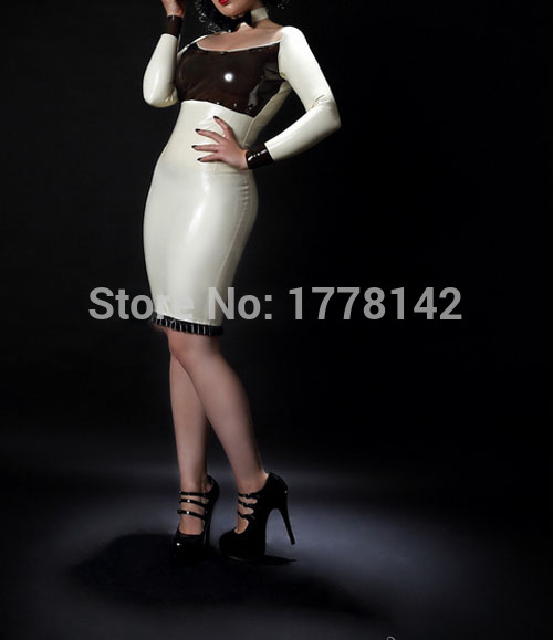 Latex Dress White And Black Sexy Fetish Latex Dress Party Dress