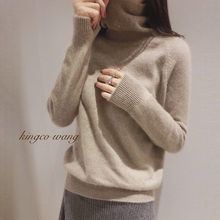 18 Autumn winter cashmere sweater women high collar thickening easy woollen pure color basic sweater
