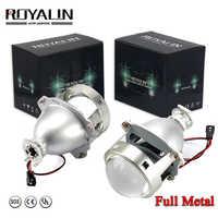 ROYALIN Auto-styling HID H1 Bi Xenon Faro Lente Del Proiettore 3.0 Pollici Full Metal LHD RHD per H4 H7 9005 9006 Auto Luce Retrofit