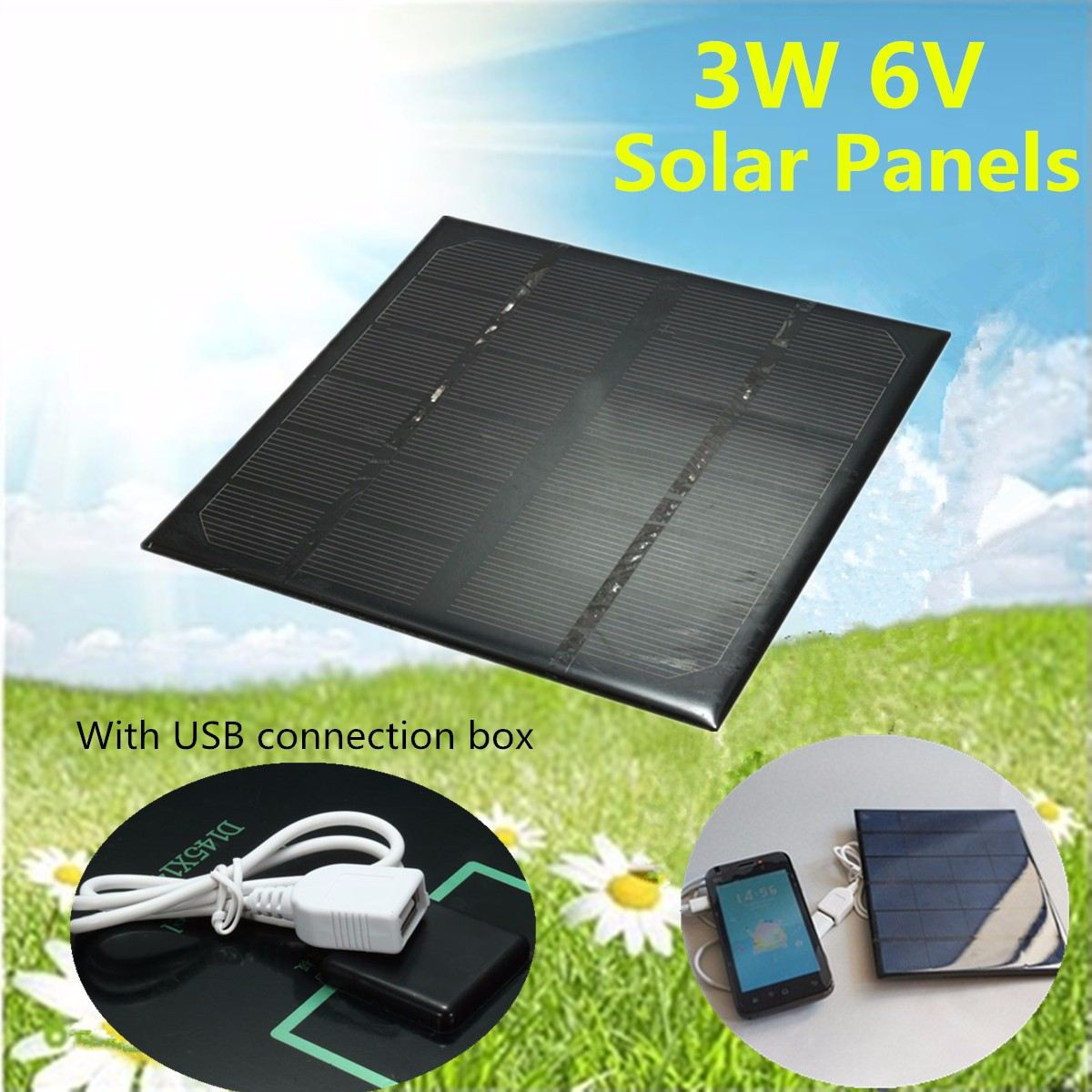 KINCO 3W 6V Solar Panel With USB Connection DIY Battery Charger Monocrystalline Silicon Solar System Supply MINI Solar Cell