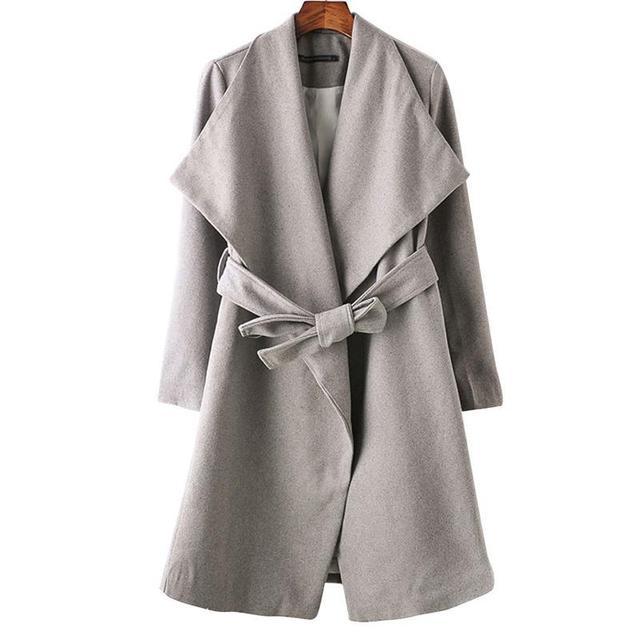 Women woolen long coats blends casual long sleeve thick winter warm outerwear casaco feminine slim tops