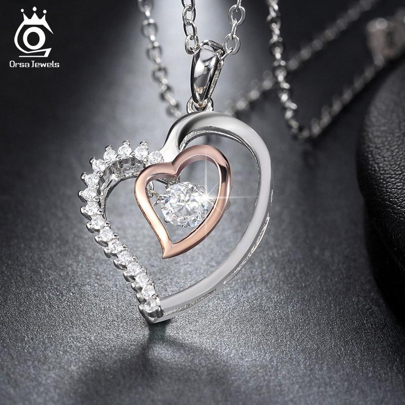 ORSA JEWELS Pravi 925 srebrna dvostruko srce privjesak ogrlica s 0,3 - Modni nakit - Foto 4