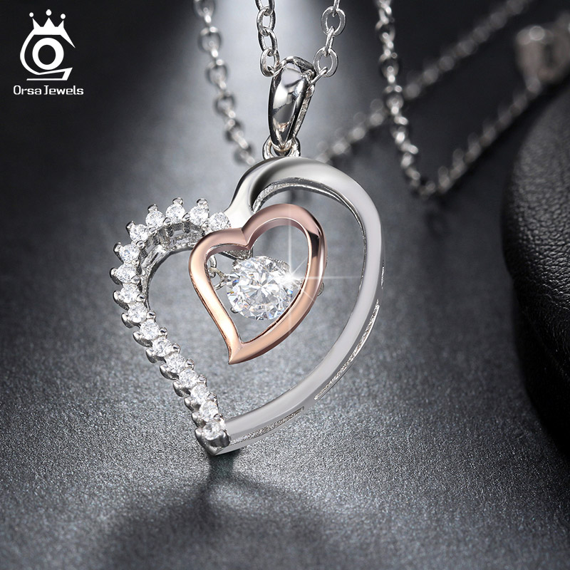 ORSA JEWELS Asli 925 Perak Liontin Jantung Ganda Kalung dengan 0.3 ct - Perhiasan fashion - Foto 4