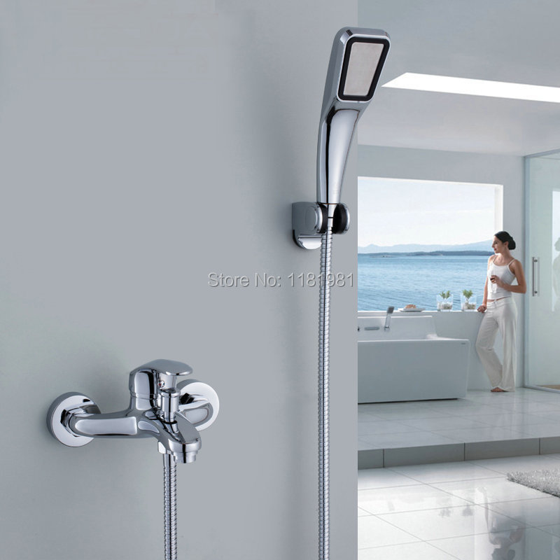 Newly Chromed Polished Bathroom Basin Faucet Bath Tub Mixer Tap With Hand Shower Head Shower Faucet K707